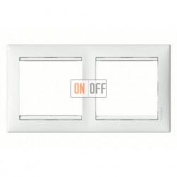 Рамка двойная, для горизонтального монтажа Legrand Valena, белый глянцевый 774452