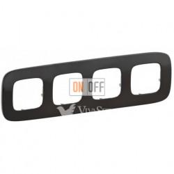 Рамка четверная  Legrand Valena Allure, черная сталь 755514