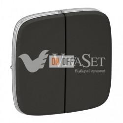 Двухклавишный кнопочный выключатель  6 A - 250 В, Valena Allure темная нержавеющая сталь 752018 - 755123