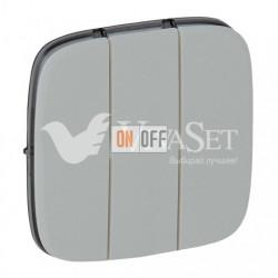 Выключатель трехклавишный  10 AX - 250 В, Valena Allure алюминий 752003 - 755037