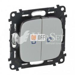 Выключатель двухклавишный с подсветкой  10 AX - 250 В, Valena Allure алюминий 752005 - 67684 - 67684 - 755227