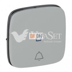 Кнопочный выключатель с символом звонок c подсветкой  6 A - 250 В, Valena Allure алюминий 752011 - 67686 - 755092