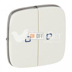 Переключатель двухклавишный на два направления с подсветкой  10 AX - 250 В, Valena Allure перламутр 752028 - 67686 - 67686 - 755229
