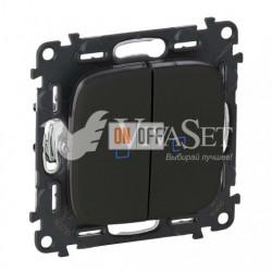 Выключатель двухклавишный с подсветкой  10 AX - 250 В, Valena Allure матовый черный 752005 - 67684 - 67684 - 755228