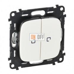 Двухклавишный кнопочный выключатель с подсветкой  6 A - 250 В, Valena Allure белый 752018 - 67686 - 67686 - 755225