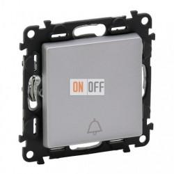 Кнопочный выключатель с символом звонок 6 A - 250 В, Valena Life алюминий 752011 - 755012