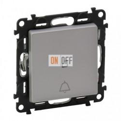 Кнопочный выключатель с символом звонок c подсветкой  6 A - 250 В, Valena Life алюминий 752011 - 67686 - 755052