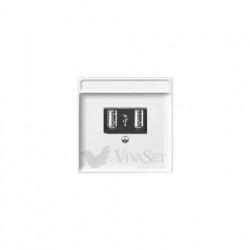 Розетка USB двойная для зарядки, белый глянцевый MTN4366-0000 - MTN297819