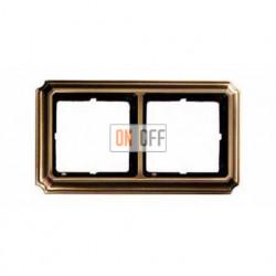 Рамка двойная, для горизон./вертикал. монтажа Merten Antique, античная латунь MTN483243