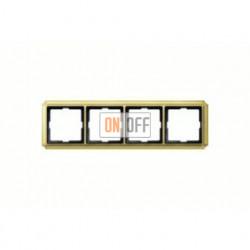 Рамка четверная, для горизон./вертикал. монтажа Merten Antique, блестящая латунь MTN483421