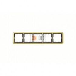 Рамка пятерная, для горизон./вертикал. монтажа Merten Antique, блестящая латунь MTN483521
