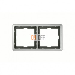 Рамка двойная, для горизон./вертикал. монтажа Merten Artec, нержавеющая сталь MTN481246