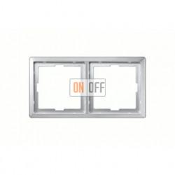 Рамка двойная, для горизон./вертикал. монтажа Merten Artec, алюминий MTN481260