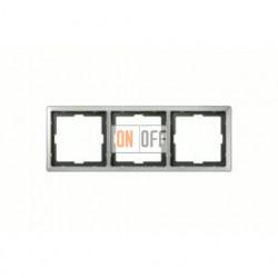 Рамка тройная, для горизон./вертикал. монтажа Merten Artec, нержавеющая сталь MTN481346