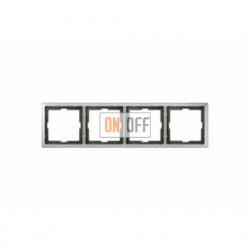 Рамка четверная, для горизон./вертикал. монтажа Merten Artec, нержавеющая сталь MTN481446
