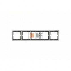 Рамка пятерная, для горизон./вертикал. монтажа Merten Artec, нержавеющая сталь MTN481546
