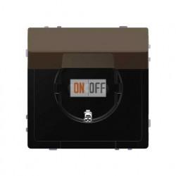 Розетка с заземлением, с защитными шторками и крышкой 16 А / 250 В~, безвинтовые зажимы Merten D-life, мокко металл MTN2310-6052