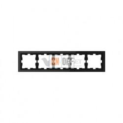 Рамка пятерная Merten D-life черный оникс, стекло MTN4050-6503