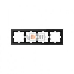 Рамка четверная Merten D-life черный оникс, стекло MTN4040-6503