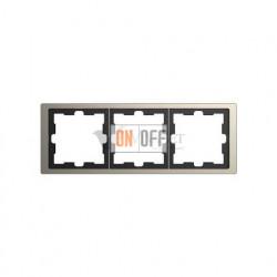 Рамка тройная Merten D-life никель металл MTN4030-6550