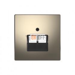 Розетка телефонная двойная RJ11 Merten D-life, никель металл EPUAE8-8UPO - MTN4522-6050
