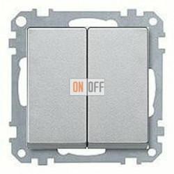 """Выключатель двухклавишный, 10 А / 250 В~, пластик - пластик """";под алюминий""""; MTN3115-0000 - MTN433560"""
