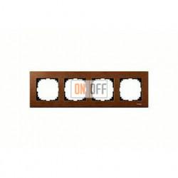 Рамка четверная, для горизон./вертикал. монтажа Merten M-Elegance, вишня MTN4054-3472