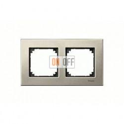 Рамка двойная, для горизон./вертикал. монтажа Merten M-Elegance, титан MTN403205
