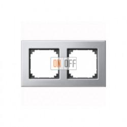 Рамка двойная, для горизон./вертикал. монтажа Merten M-Elegance, платина-серебро MTN403260
