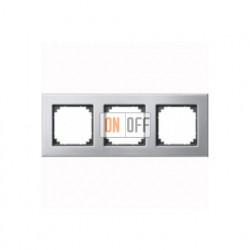 Рамка тройная, для горизон./вертикал. монтажа Merten M-Elegance, платина-серебро MTN403360