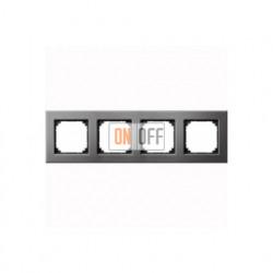 Рамка четверная, для горизон./вертикал. монтажа Merten M-Elegance, серый родий MTN403414