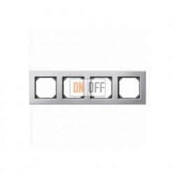 Рамка четверная, для горизон./вертикал. монтажа Merten M-Elegance, платина-серебро MTN403460