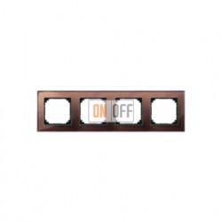 Рамка четверная, для горизон./вертикал. монтажа Merten M-Elegance, махагон MTN4040-3215