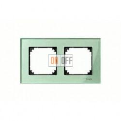 Рамка двойная, для горизон./вертикал. монтажа  Merten M-Elegance, изумруд MTN404204
