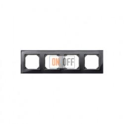 Рамка четверная, для горизон./вертикал. монтажа Merten M-Elegance, черный оникс MTN404403