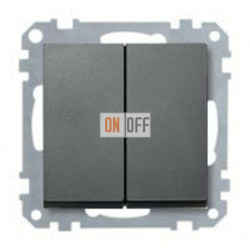 Выключатель двухклавишный, проходной (вкл/выкл с 2-х мест) 10 А / 250 В~ MTN3126-0000 - MTN433514