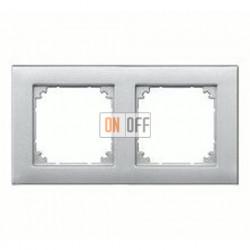 Рамка двойная, для горизон./вертикал. монтажа Merten M-Plan, алюминий MTN486260