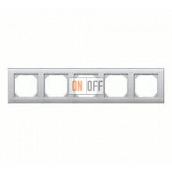 Рамка пятерная, для горизон./вертикал. монтажа Merten M-Plan, алюминий MTN486560