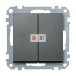 Выключатель двухклавишный, 10 А / 250 В~, антрацит MTN3115-0000 - MTN433514