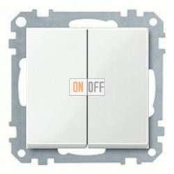 Выключатель двухклавишный, проходной (вкл/выкл с 2-х мест) 10 А / 250 В~ MTN3126-0000 - MTN432519