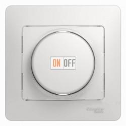 Светорегулятор (диммер) поворотно нажимной универсальный от 40 до 600 Вт. для ламп накаливания и галогенных ламп и трансформаторов, Schneider Glossa белый GSL000136