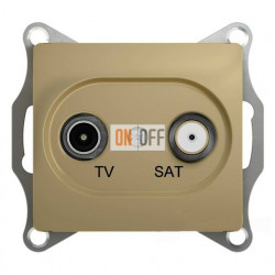 Розетка телевизионная и спутниковая проходная, Schneider Glossa титан GSL000498