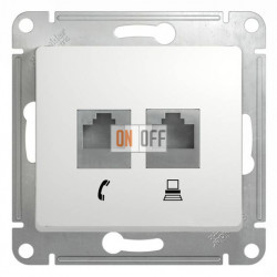 Розетка двойная компьюерная +  телефонна, Schneider Glossa белый GSL000185