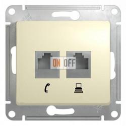 Розетка двойная компьюерная +  телефонна, Schneider Glossa бежевый GSL000285