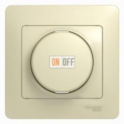 Светорегулятор (диммер) поворотно нажимной универсальный от 40 до 600 Вт. для ламп накаливания и галогенных ламп и трансформаторов, Schneider Glossa бежевый GSL000236