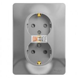 Розетка двойная с заземлением со шторками, винтовые клеммы, Schneider Glossa алюминий GSL000326