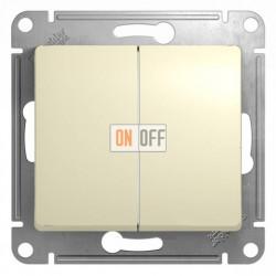 Выключатель двухклавишный, проходной (вкл/выкл с 2-х мест) Schneider Glossa бежевый GSL000265