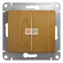 Выключатель двухклавишный, проходной (вкл/выкл с 2-х мест), Schneider Glossa дуб GSL000565