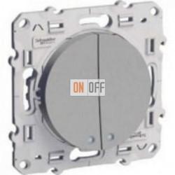 2-клавишный выключатель с окном для LED Schneider Odace алюминий S53R211 - S53R298 - S52R291