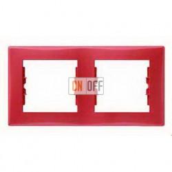 Рамка двухместная горизонтальная Schneider Sedna (красный) SDN5800341